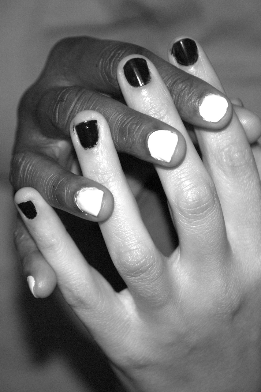 black and white steeple hands